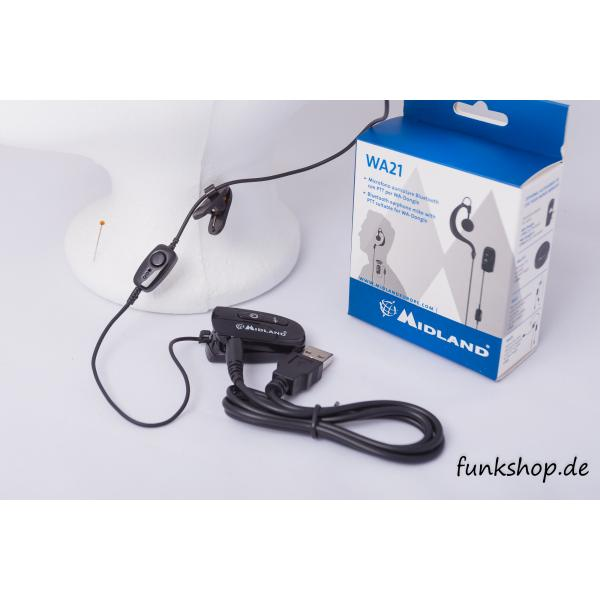 MIDLAND WA21 Bluetooth Headset mit PTT-Taste für WA-Dongle